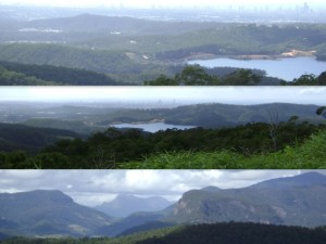 Gold Coast City and Hinze Dam (top, middle) Springbrook, Mt Warning and Lamington Plateau (bottom), SE QLD, Australia